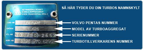 Namnplåt Volvo Penta K26 utbytesturbo